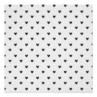 Black Glitter Hearts Pattern Poster