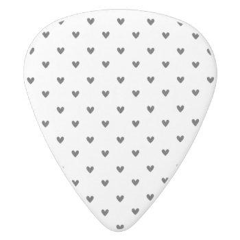 Black Glitter Hearts Pattern White Delrin Guitar Pick by GraphicsByMimi at Zazzle