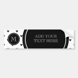 Black Glitter Hearts with Monogram Bumper Sticker