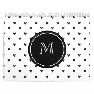 Black Glitter Hearts with Monogram Calendar