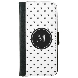 Black Glitter Hearts with Monogram iPhone 6 Wallet Case