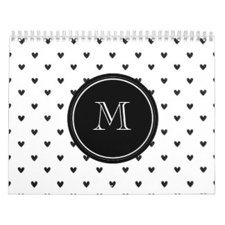 Black Glitter Hearts with Monogram Wall Calendar