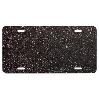 Black glitter license plate