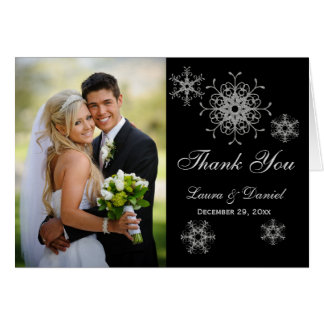 Black, Glitter LOOK Snowflake Photo Thank You Card