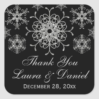 Black, Glitter LOOK Snowflake Wedding Sticker