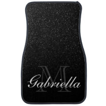 Black Glitter Monogram Car Floor Mat