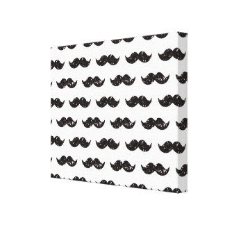 Black Glitter Mustache Pattern Printed Gallery Wrapped Canvas
