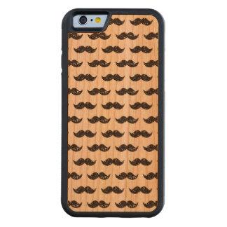 Black Glitter Mustache Pattern Printed Carved Cherry iPhone 6 Bumper Case