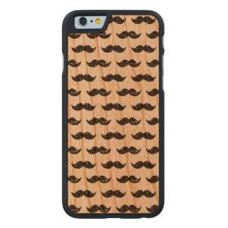 Black Glitter Mustache Pattern Printed Carved Cherry iPhone 6 Slim Case