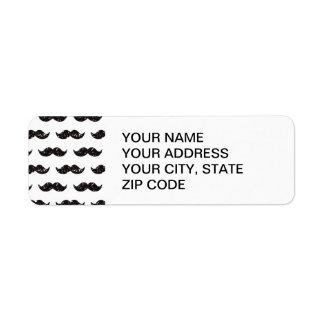 Black Glitter Mustache Pattern Printed Label