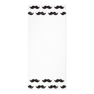 Black Glitter Mustache Pattern Printed Rack Card