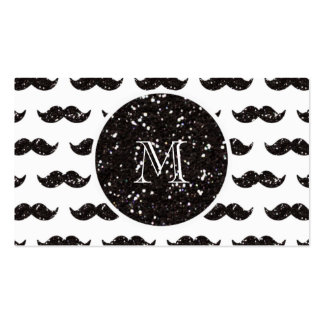 Black Glitter Mustache Pattern Your Monogram Business Card