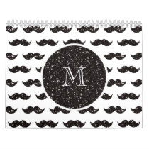 Black Glitter Mustache Pattern Your Monogram Calendar
