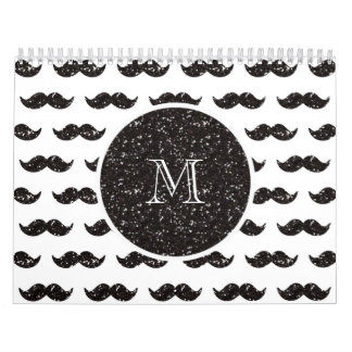 Black Glitter Mustache Pattern Your Monogram Calendar