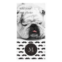 Black Glitter Mustache Pattern Your Monogram Card