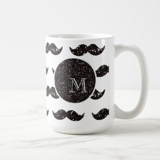 Black Glitter Mustache Pattern Your Monogram Coffee Mug