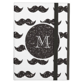 Black Glitter Mustache Pattern Your Monogram Cover For iPad Air