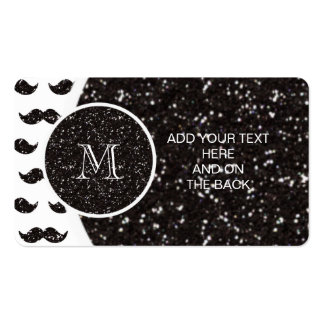 Black Glitter Mustache Pattern Your Monogram Double-Sided Standard Business Cards (Pack Of 100)
