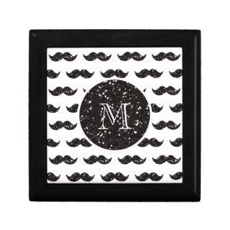 Black Glitter Mustache Pattern Your Monogram Gift Box