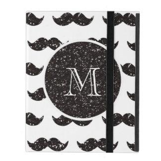 Black Glitter Mustache Pattern Your Monogram iPad Case