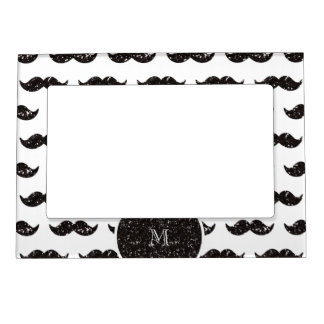 Black Glitter Mustache Pattern Your Monogram Picture Frame Magnets
