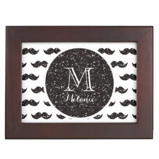 Black Glitter Mustache Pattern Your Monogram Keepsake Box