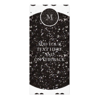 Black Glitter Mustache Pattern Your Monogram Rack Card