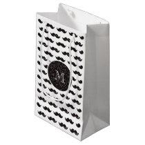 Black Glitter Mustache Pattern Your Monogram Small Gift Bag