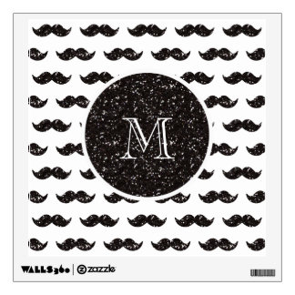 Black Glitter Mustache Pattern Your Monogram Wall Decal