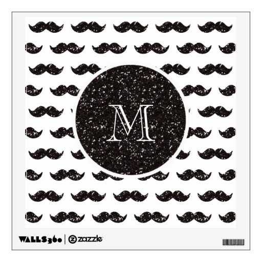 Black Glitter Mustache Pattern Your Monogram Wall Stickers