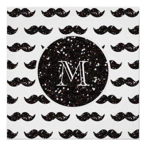 Black Glitter Mustache Pattern Your Monogram Perfect Poster