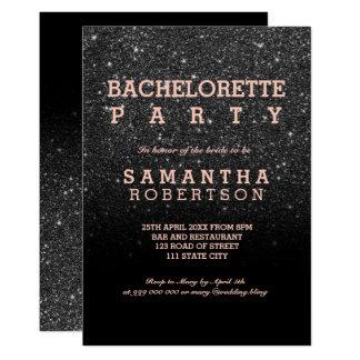 Black glitter ombre rose gold bachelorette party invitation