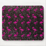Black glitter pink flamingo mouse pads