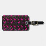 Black glitter pink flamingo travel bag tags