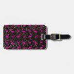 Black glitter pink flamingo travel bag tags