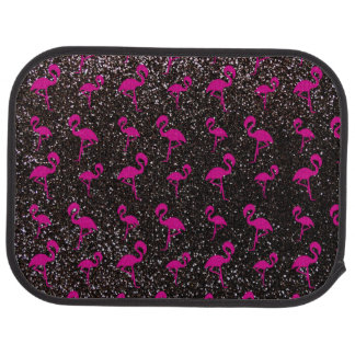 Black glitter pink flamingo floor mat