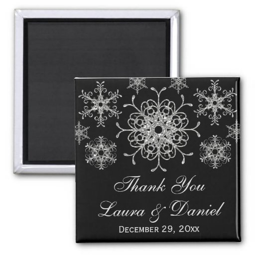Black Glitter Snowflakes Wedding Favor Magnet