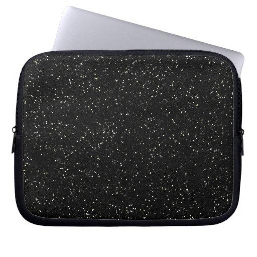 Black Glitter Sparkle Graphic Art Pattern Design Laptop Computer Sleeve