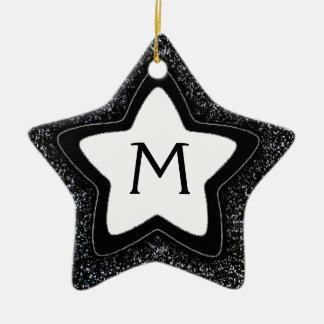 Black glitter star customizable monogram ornament