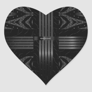 Black Glitter Stars Heart Sticker