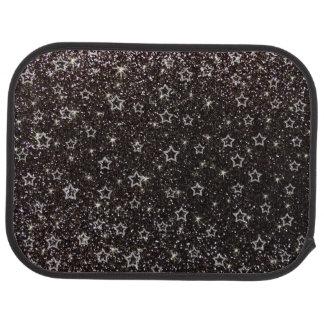 Black glitter stars car mat