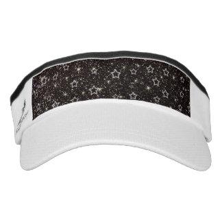 Black glitter stars headsweats visors