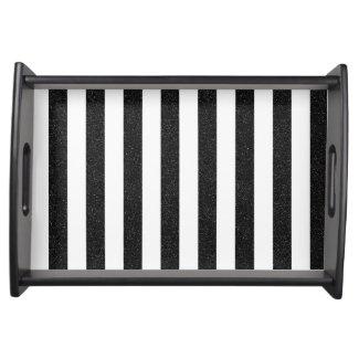 Black glitter stripes tray serving platters