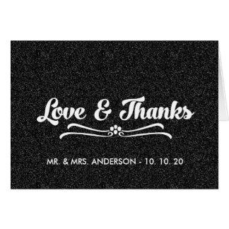 Black Glitter Wedding Love and Thanks Folded Card