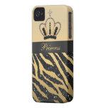 Black Glitter Zebra Print & Jewel Crown iPhone 4 iPhone 4 Covers