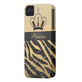 Black Glitter Zebra Print & Jewel Crown iPhone 4 iPhone 4 Case-Mate Case
