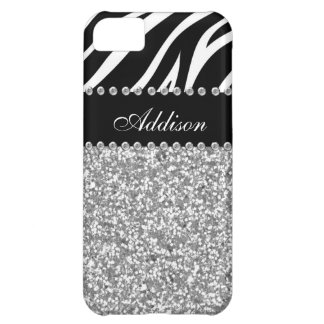 Black Glitter Zebra Print Rhinestone Girly Case