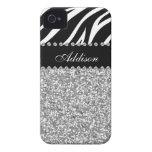 Black Glitter Zebra Print Rhinestone Girly Case iPhone 4 Case-Mate Case