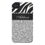 Black Glitter Zebra Print Rhinestone Girly Case iPhone 4 Cases
