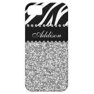 Black Glitter Zebra Print Rhinestone Girly Case iPhone 5 Case